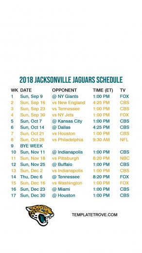 2018 2019 Jacksonville Jaguars Lock Screen Schedule for iPhone 6 7