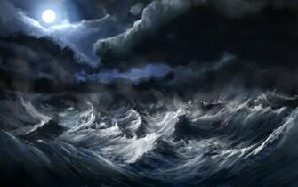 Waves Storm Wallpaper 2560x1600 Waves Storm Moon Artwork Alexlinde