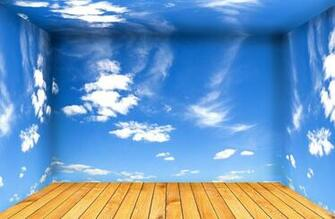 White clouds blue sky walls and wooden flooring 3D house 3D