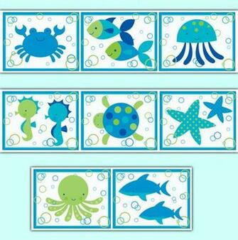 Sea Life Ocean Creatures Wallpaper Border Wall Art Decals Baby Boy
