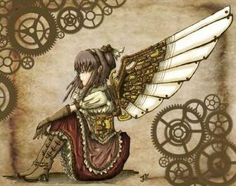Steampunk mechanical girl angels wallpaper 1711x1348 62243