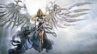Download Angel with metal wings wallpaper
