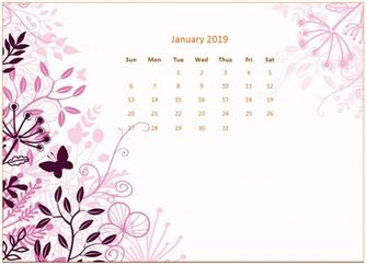 2019 Monthly Floral Calendar Wallpaper