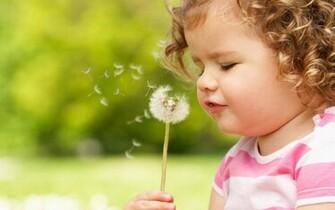Blowing Dandelion Wallpaper Cute child blowing dandelion