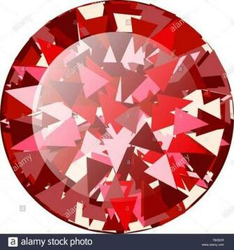 Realistic Red ruby Diamond round isolated on white background