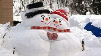 2048x1152 snowmen snow winter 2048x1152 Resolution Wallpaper HD