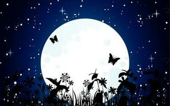 Beauty Moon And Butterfly HD Wallpaper Animation Wallpapers