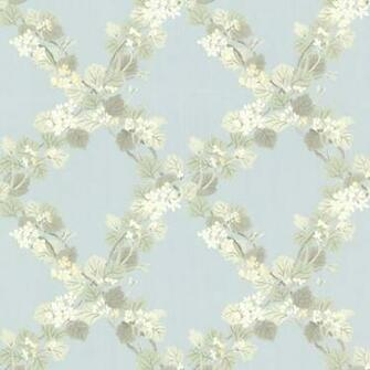 Delphia Blue Jasmine Trellis Wallpaper   Farmhouse   Wallpaper   by