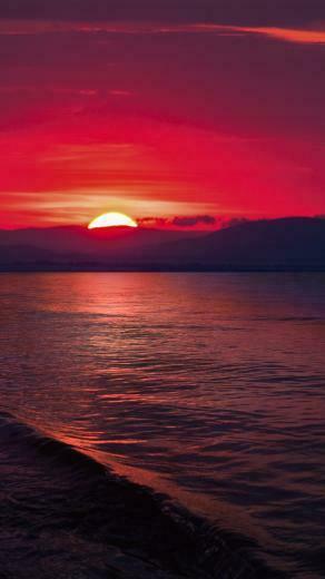 Download Sunset Sea Hills Pure 4K Ultra HD Mobile Wallpaper