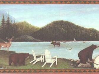 Moose Deer Bear Fishing Cabin Wildlife Lodge Wallpaper Border eBay