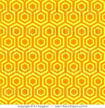 Royalty Retro Orange and Yellow Repeat Pattern Background by KJ