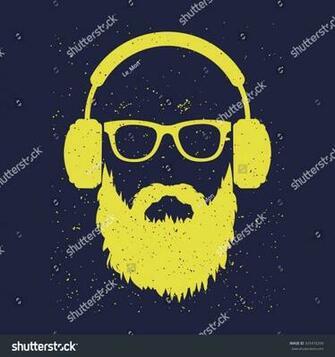 Man Beard Wearing Glasses Headphones Tshirt Stock Vector Royalty
