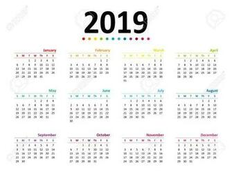 Year 2019 Calendar Wallpaper Vector Illustration Royalty