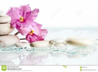 Spa Stones And Pink Flower On White Background Royalty Stock