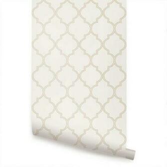 Moroccan Beige Peel Stick Fabric Wallpaper Repositionable
