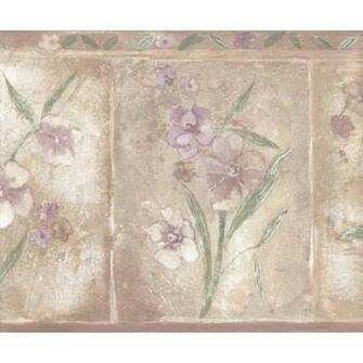 Brown Purple Primrose Floral Wallpaper Border