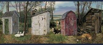 Outhouse Navy Wallpaper Border   Rustic Country Primitive