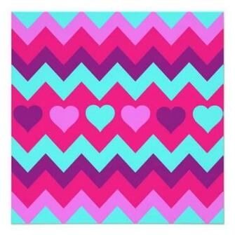 Cute Chevron Hearts Pink Teal Teen Girl Gifts Custom Invitation