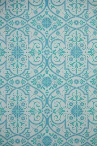 1970s Retro Wallpaper   Vintage Aqua Blue and White Geometric 16 per