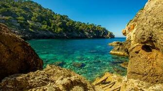 Cala Deia tropic empty beach Palma Mallorca Balearic Islands