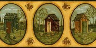 Her Primitive Outhouse Border   Wallpaper Border Wallpaper inccom