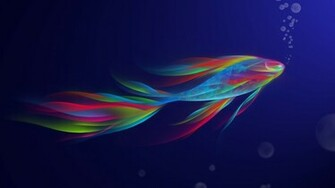 Wallpaper fish fish bubbles abstract 3d widescreen 1366x768 on