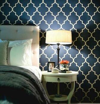Stencil Navy Yellow Color Bedroom Paint Ideas Trellis Wallpaper