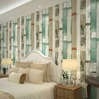 Reclaimed Wood Wallpaper Natural Beige Blue Striped wood Wallpaper
