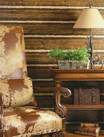 Faux Wood Textured Wallpaper Authentically Creates a Rustic Look and