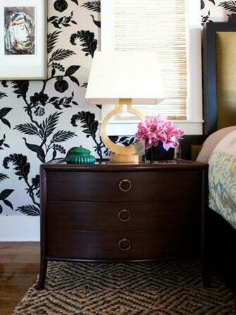 Valencich Wallpapered Bedroom Nightstand
