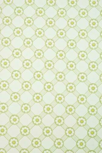 wallpaper with AsparagusLeaf green and bright yellow Rosette trellis