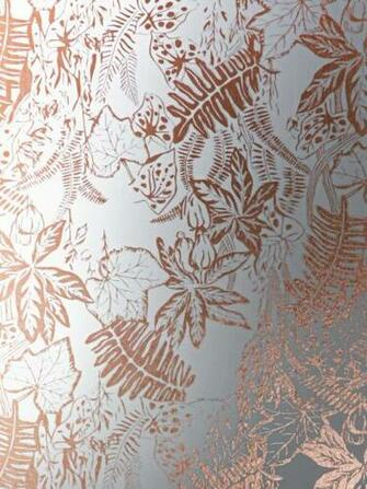 Hothouse Wallpaper   Copper Rose White Monument Interiors