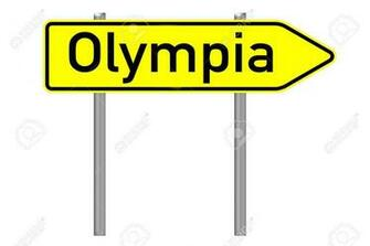 Signpost With The Word Olympia Isolated Over A White Background