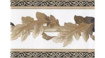Home White Black Gold Leaf Column Molding Wallpaper Border