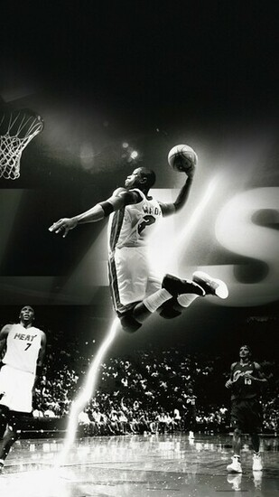 Dwyane Wade Dunk NBA Flash Sports Black And White Android Wallpaper