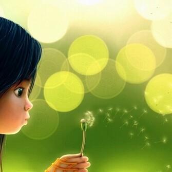 Cute cartoon girl blowing dandelion wallpaper