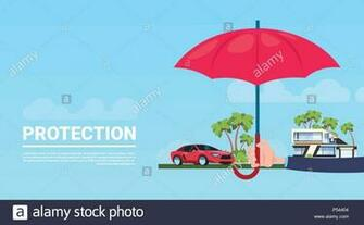 insurance service hand umbrella protective house car on blue