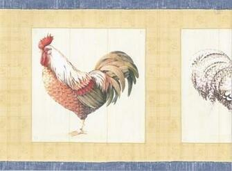 Blue Yellow Cream Roosters Wallpaper Border   Traditional   Wallpaper