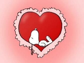 Wallpaper Snoopy acostado en un corazon