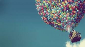 UP Disney Pixar cartoon Full HD Wallpaper Balloons and the House
