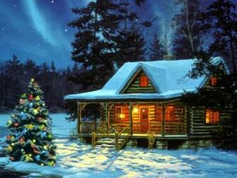 Christmas Cabin   Christmas Landscapes Wallpaper Image