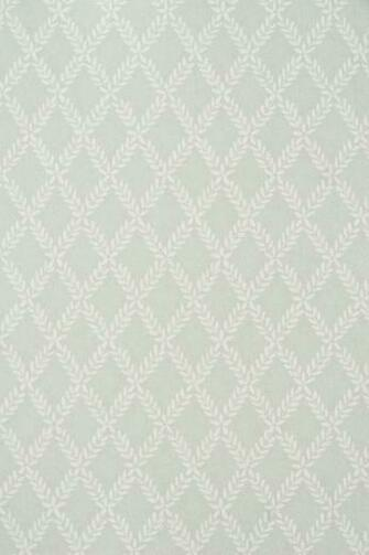 Wallpaper Duck Egg Blue wallpaper with small white Laurel leaf trellis