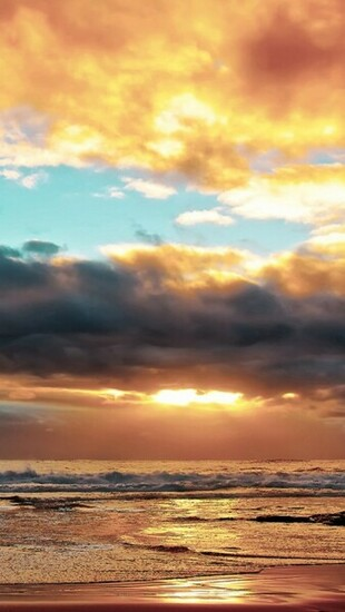 Download Ocean Beach Sunset HD iPhone 5 Wallpapers