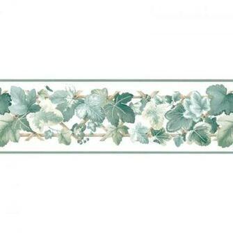 Wallpaper Border Leaf Scroll Ivy on Lattice Border