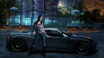 Girl with sports car night background HD wallpaper free downloadjpg