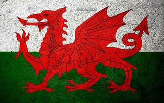 Download wallpapers Flag of Wales concrete texture stone