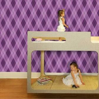 Astonishing Argyle Removable Wallpaper in Pure Purple by Pop Lolli