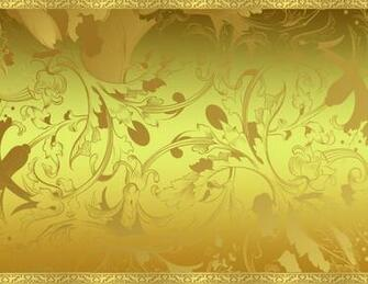 Inside a Two dimensional World Gold Floral Background