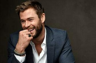 Wallpaper of Actor Australian Beard Chris Hemsworth Smile