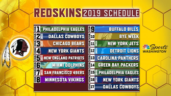 Redskins release official 2019 regular season schedule NBC